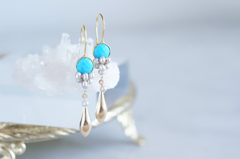 Gemstone Blue Turquoise&Genuine Silver Pearl Earrings