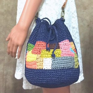 Possession and Loss Knit side backpack / knit bag / paper Raffia rattan bag / side backpack hopscotch