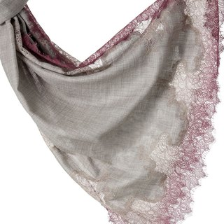 [ANGEL WOOLEN] Indian handmade French lace shawl scarf (rose honey love)