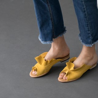 ZOODY / shell / handmade shoes / round flat slippers slippers / ore yellow