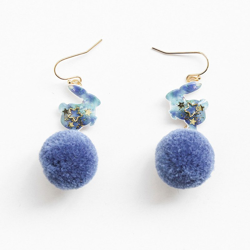 Starry rabbit hair ball earrings pom-pom rabbit star pompoms can be changed ear clips and earrings handmade