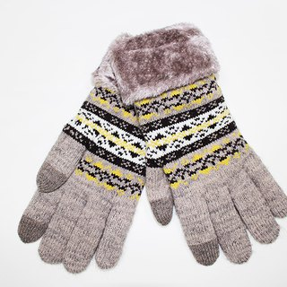 [Winter ceremony] touch knit gloves brown snowflake limited models