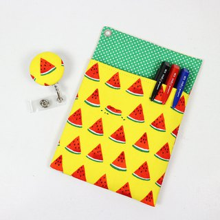 Physician Pocket Pocket Leakproof Ink Storage Bag Pen Bag + Document Clip - Watermelon (Yellow)