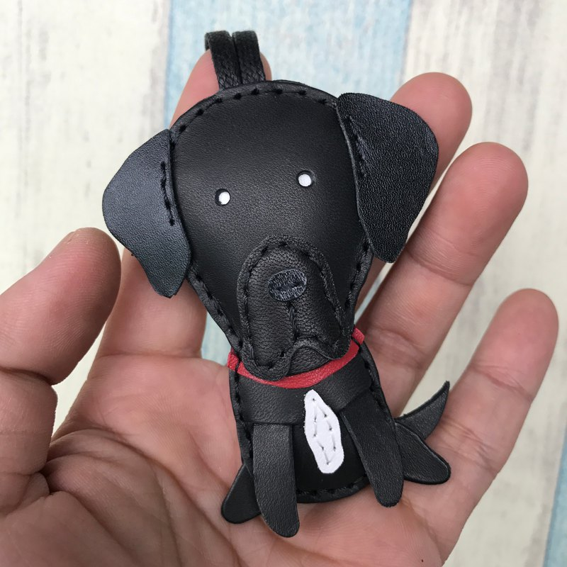 Leatherprince Handmade Leather Taiwan MIT Black Cute Labrador Retriever Hand-sewn Leather Charm Small size small size