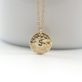 14K Rose Gold Filled Hammered Initial Plate Necklace