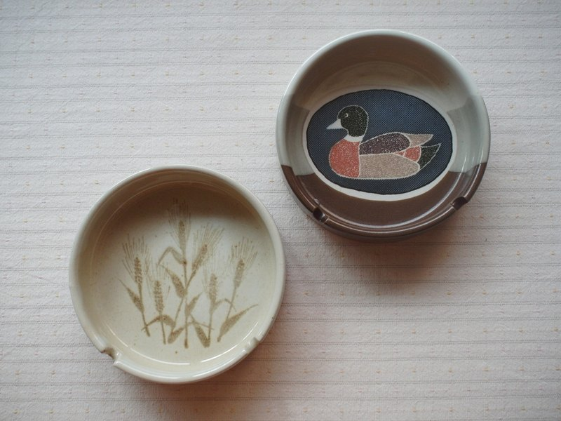 Early brown small dish - Maizi, duck (tableware / junk / old things / pottery / Japanese / dish / side dish)