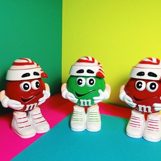 M & M chocolate cans - candy hats / old toys