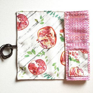 Cutlery roll case, tableware roll wrap placemat- pomegranate