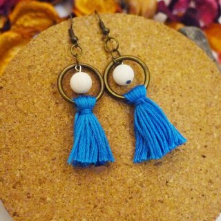 Natural stone tassel earrings