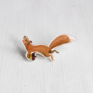 Squirrel with nut small badge / pin I Forest Daily