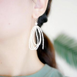 Freshwater pearl ribbon tassel swinging earring / earrings change will bring happiness June birthstone