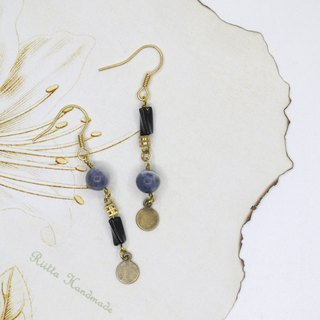 Blue and black asymmetric blue stone brass earrings ear clip