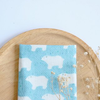 Aqua Blue polar bear towel/handkerchief