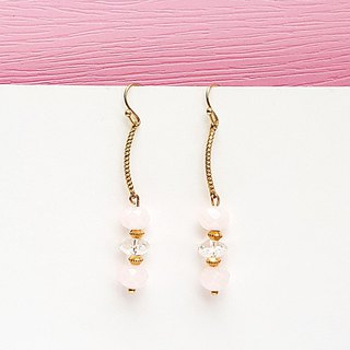 <Candy Party-Pink Bubble> Pink crystal white crystal brass earrings minimalist geometric personality gift