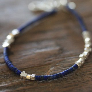 Lapis Lazuli and silver sugar cube beads bracelet (B0031)