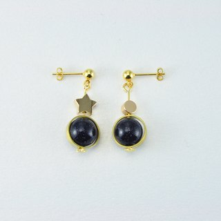 ART DECO - NATURAL Stone 925 Silver Stud Earrings【Starry Night】