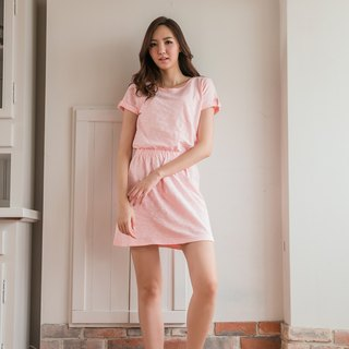 Slim slim cotton casual dress - fresh powder