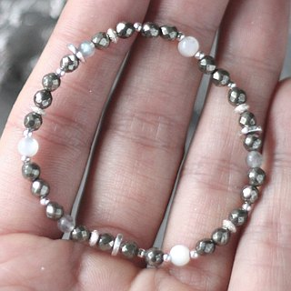 渺__ natural ore sterling silver bracelet chain gray moonstone pyrite white chalk soft and delicate