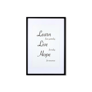 HomePlus Decorative Frame - Cursive Quote LearnLiveHope - Black 63x43cm
