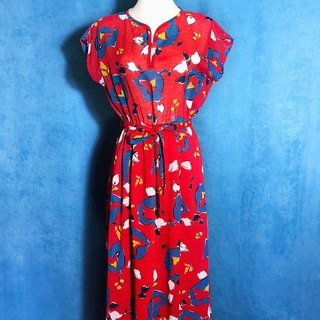 Passionate flower vintage dress / abroad brought back VINTAGE