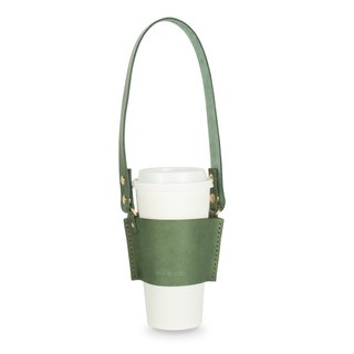 [Leather drink cup bag] (Ink green yak leather and gold button) Handmade leather