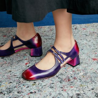 H THREE classic square head Mary Jane shoes / red purple / gradient / Orion / thick heel / retro
