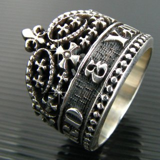 Customized .925 sterling silver jewelry RCW00006- name Crown Ring