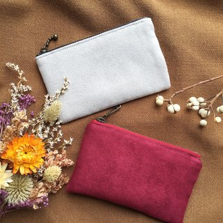 Plain suede pocket wallet - light gray / burgundy