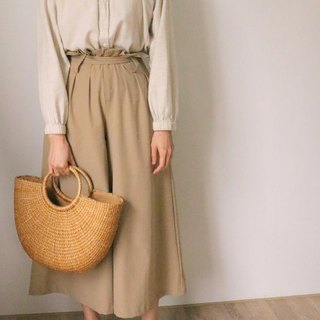 Franco Culottes khaki high waist strap cotton wide pants (sample clear)