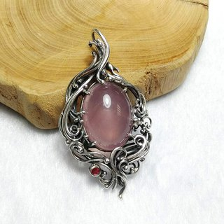 <Pure Silver Series> Madagascar Pink Crystal Design Pendant