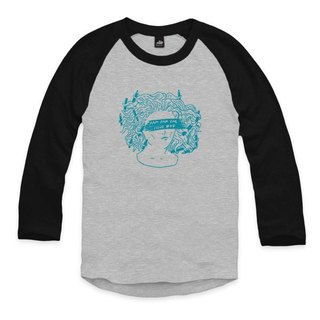 Pencil tusa blue - gray / black - seven-point baseball T-shirt