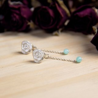 Rose Series - Great Milky Way Blue Rose - 925 sterling silver handmade earrings silver gift packaging