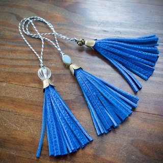JAPAN Leather Mini Tassel Regatta Blue