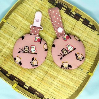 Cute owl (pink) / baby round peace symbol bag. Fu bag. Incense bag exclusive edge (round).