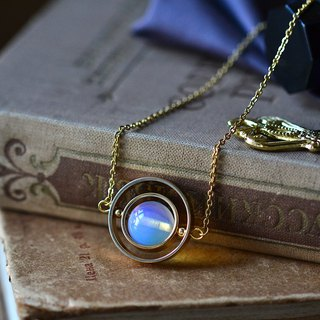 Spinning little planet with 12mm Moonstone necklace