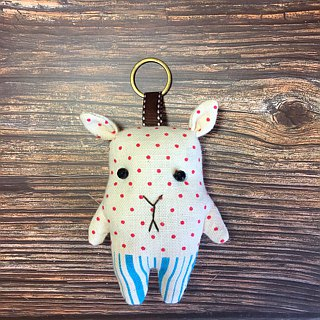 Pink deer in a striped trousers - key ring / charm