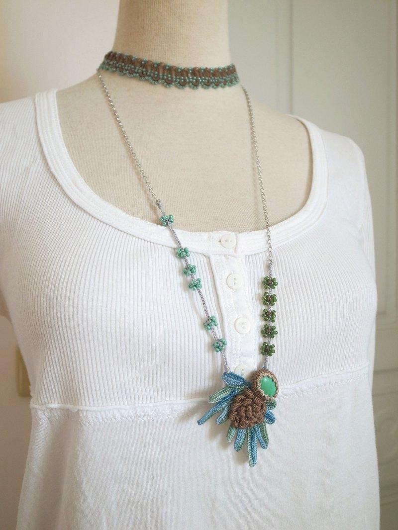 ddfc79e79980b Irish Crochet Lace Jewelry (Boho Chic 2-a) Fiber Art Necklace