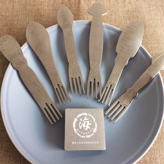 Octopus, sepia fun meal fork - six into the gift box group