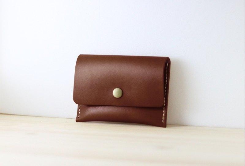 【聖誕交換禮物】簡約款-皮革零錢包 名片包 (深咖啡)