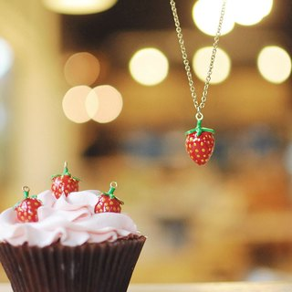 Strawberry pendant, Strawberry necklace