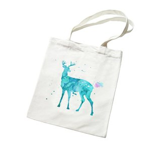 Splash Deer canvas shoulder bag for men and women portable green shopping bag - beige elk colorful watercolor illustration deer universe design own brand Milky Way trendy round triangle