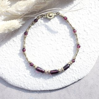 ♦ ViiArt ♦ distant river - yellow river ♦ garnet strawberry crystal brass bracelet