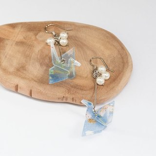 Wings, and wind paper cranes, Japanese Burmese cloth, earrings - blue