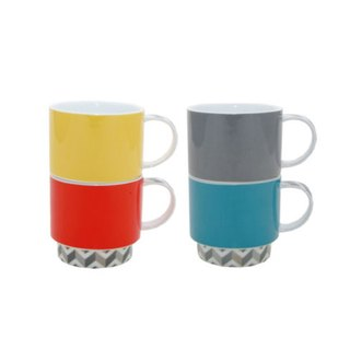 SUSS-UK Rayware playful stackable color mug (a set of four colors) - spot