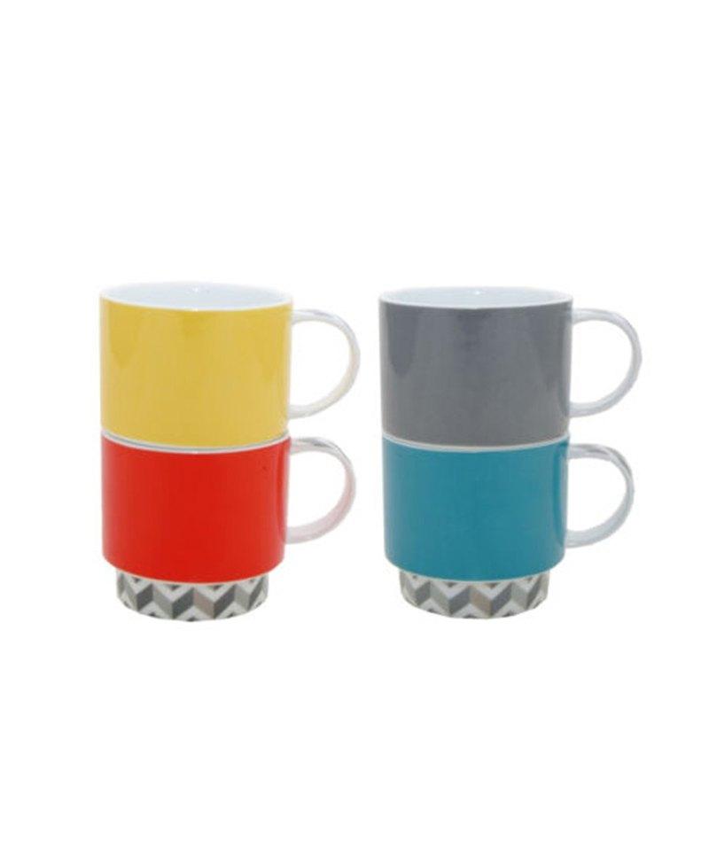 SUSS-英國Rayware俏皮感可堆疊彩色馬克杯(一組四色入)-現貨