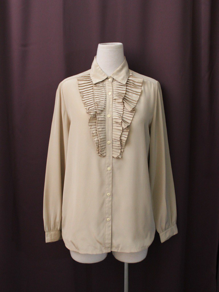 Vintage Japanese-made French-style chest special cut khaki long-sleeved vintage shirt