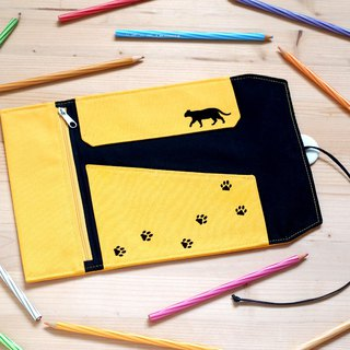 Walking cat volume pencil case (yellow)
