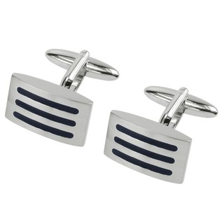 Dark Blue Enamel Stripe Domed Cufflinks