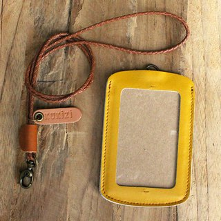 ID case/ Pass case/ Card case - ID 1 -- Yellow + Tan Lanyard (Cow Leather)