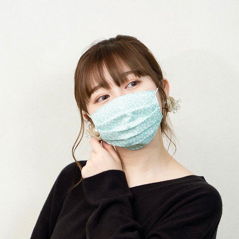 和柄 點點 薄荷色 手工立體口罩 可洗滌 日本製純棉二重紗布 成人
